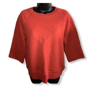 TNA The Flip Crew Red Sweatshirt Cropped Sleeves